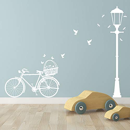 Lámpara De La Calle Y La Calcomanía De La Pared De La Bicicleta Sala De Estar Dormitorio Decoración Del Hogar Pegatina Mural Calle Light 178Cmh Bicicleta 100 * 52Cm Blanco