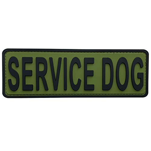 uuKen Service Dog Patch OD Green 6x2 inches Hook Back K9 Working Dog in Training PVC Military Tactical for Tactical Vest Harness K9 Collar (Black and Green, 6'x2')