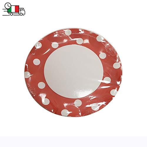 Krea - Juego de 10 platos hondos rojos con lunares blancos de papel, diámetro 27 cm