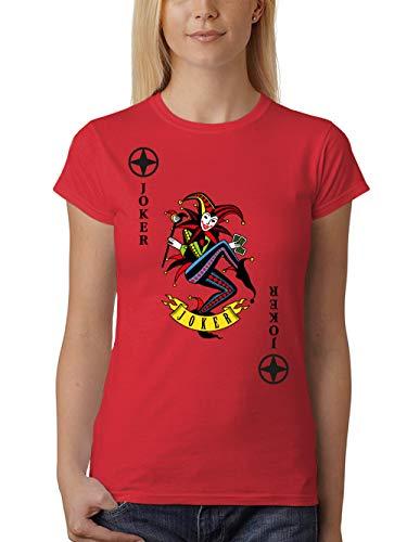clothinx Damen T-Shirt Unisex Karneval & Fasching Spielkarte Joker Kostüm Rot/Bunt Größe XXL
