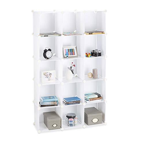 Relaxdays Steckregal aus Kunststoff, erweiterbares Regalsystem, 15 belastbare Fächer, individuelles Standregal, weiß