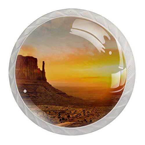 Nature Landscape SunsetRound - Tirador de cristal para cajones (35 mm, 4 unidades), color blanco