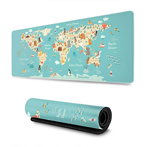 Cute Animals World Map Gaming Mouse Pad, Long Extended XL Mousepad Desk Pad, Large Non Slip Rubber Mice Pads Stitched Edges, 31.5'' X 11.8''
