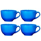 Jumbo Soup Bowl and Cereal Mugs Wide Ceramic Mug Set of 4, 24 Ounce, By Bruntmor, Gradient Blue