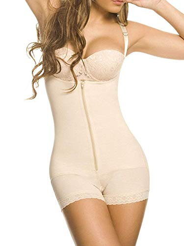 YIANNA Mujer Body Reductor Busto Abierto Corsé sin Costuras Faja Reductora Modeladora Negro Shapewear Adelgazante Beige, 7102 Size 2XL