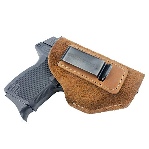 The Ultimate Suede Leather IWB Holster - Made in USA - Fits Glock 42 & 43 | Ruger LC9, LC9s | Kahr CM9, MK9, P9 | Springfield Hellcat | Sig Sauer P365 | Kimber Solo Carry and more - Brown - Right Hand