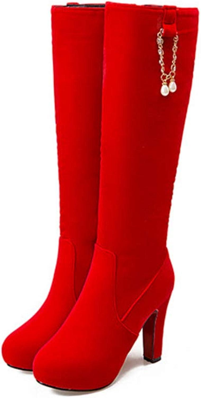 Hoxekle Knee High Boot High Heel Zipper Crystal Chain Fashion Sexy Classic Women Winter Long Boots