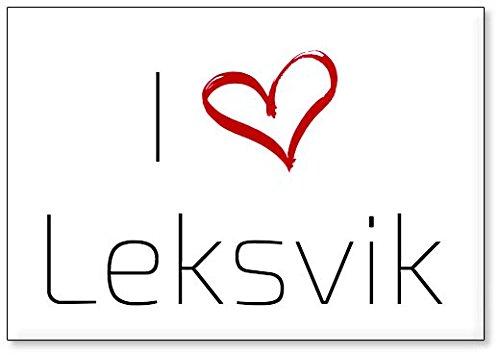 Mundus Souvenirs - Ich Liebe Leksvik, Kühlschrankmagnet (Design 3)