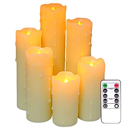 DRomance Flameless Flickering Dripping Candles Battery Operated with Remote and Timer, Set of 6 Real Wax Warm Light 2.2' D x 4',5',6',7',8',9'H Pillar Candles for Christmas Home Decoration(Ivory)
