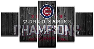 HAOSHUNDA Painting Canvas Baseball Wall Art Pictures Frame Home Decor HD Print 5 Pieces World Series Champions Cubs Modern Painting
