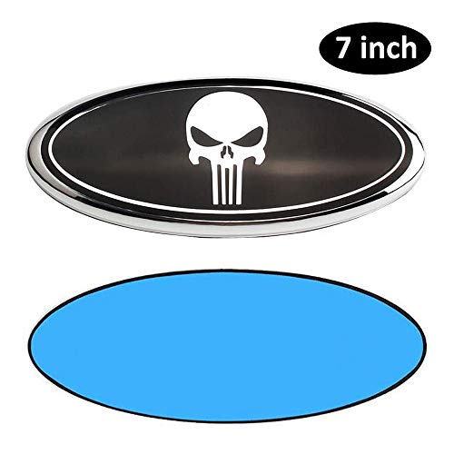 7inch Emblem for Ford, Skull Logo Front Grille Tailgate Emblem 3D Oval 3M Double Side Adhesive Tape Sticker Badge for Ford Escape Excursion Expedition Freestyle F150 F250 F350 (7inch Black)…