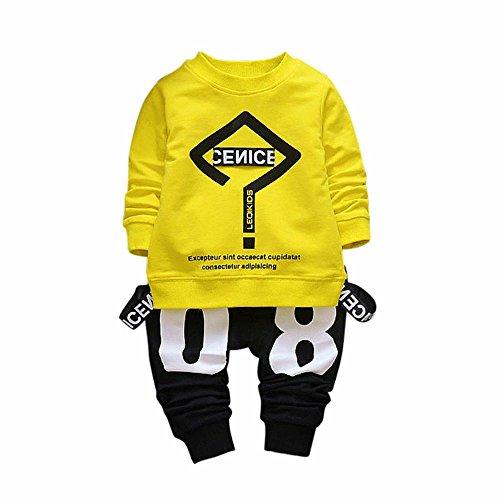 Lylita 2pcs Bimbo Bambino Neonato Vestiti Lettera Stampa T-Shirt Top + Pantaloni Set (1 Anno, Giallo)