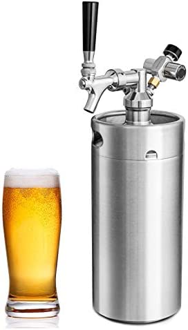 Pressurized Beer Mini Keg System 128oz Stainless Steel Growler Tap Easy Storage Under Pressure product image