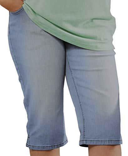 up2fashion Caprijeans Damen Übergröße Hose kurz Capri Jeans Blau (46, Blue Bleached Denim)