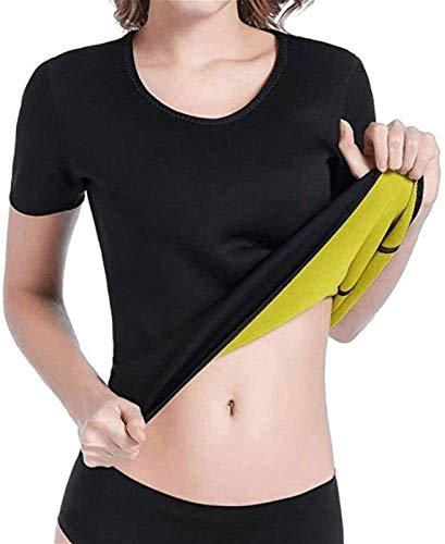 XiuLi Fitness Tank Top Mujer Adelgazante Y Adelgazante Efecto Sauna - Camisa Slim Fit Blusa Entrenamiento Body Shaper (Color : Black, Size : L)
