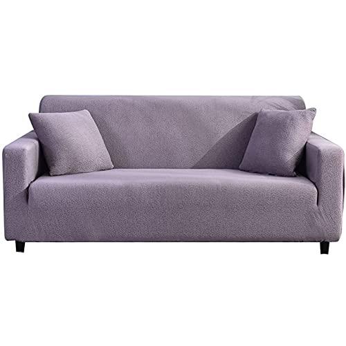 BXFUL Spandex Sofabezug Stretch Sofahusse Couchbezug Sesselbezug Elastischer rutschfest Stretchhusse für Sofa (3-Sitzer,Lila)