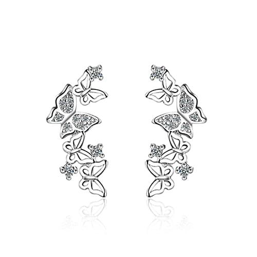SMEJS ZWSHAN Pendiente de mariposa para mujer 3D Mariposa Pendientes largos de cristal Pendientes de botón Pendientes exquisitos elegantes Pendientes perforados Joyas Regalo
