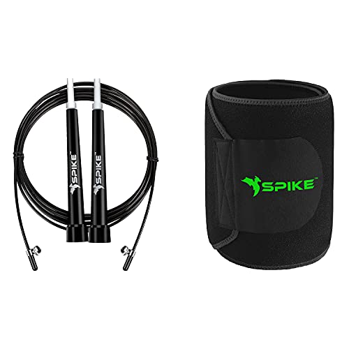 Spike Speed Skipping Jump Rope for Weight Loss, Fat Loss, Strength Designed for both Men and Women (Black SR + Black Slim Belt)