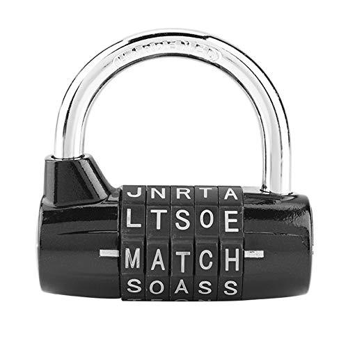 Gimnasio Locker Lock, Bloqueo de palabras de 5 letras, Candado con combinación de candado de seguridad Cerradura con contraseña de seguridad, 1 paquete(Black)