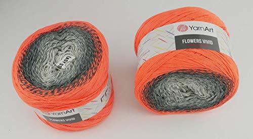 YarnArt Flowers Vivid 500 Gramm Bobbel Wolle Farbverlauf, 55% Baumwolle, Bobble Strickwolle Mehrfarbig (503)