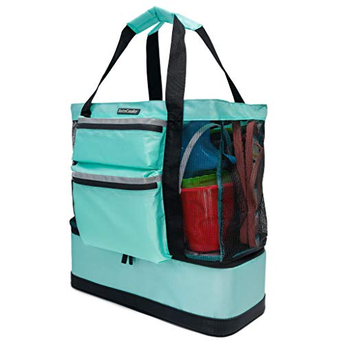ToteCooler Beach Picnic Mesh Tote Bag with Zipper Top, Dual Internal Sling Bottle Pockets, 3 Exterior Pockets and Insulated Soft Cooler with Anti-Slip Rubber Base Guard (Seafoam)
