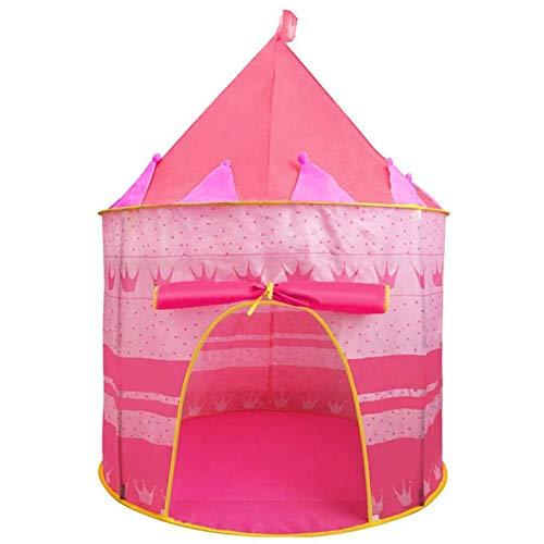 Jasonwell Casa de campaña con diseño de Castillo para niños niñas Tiendas de campaña Transpirable para Guardar Juguetes Uso Interior y Exterior Rosa