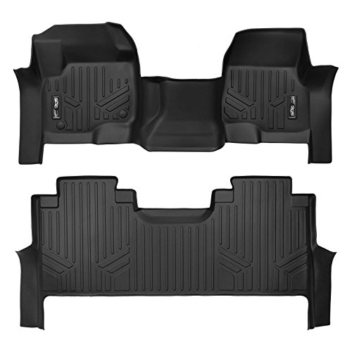 MAXLINER Floor Mats 2 Row Liner Set Black for 2017-2020 Ford F-250/F-350 Super Duty Crew Cab with 1st Row Bench Seat