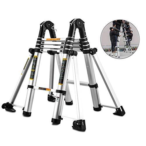 ZAQI Teleskopleiter Leiter Aluleiter Treppenleiter Schwerlast-Teleskopleiter mit Stabilisator, Aluminium-Verlängerungsleiter for Treppen/Loft/Dachzelt/Wohnmobil, Traglast 150 kg
