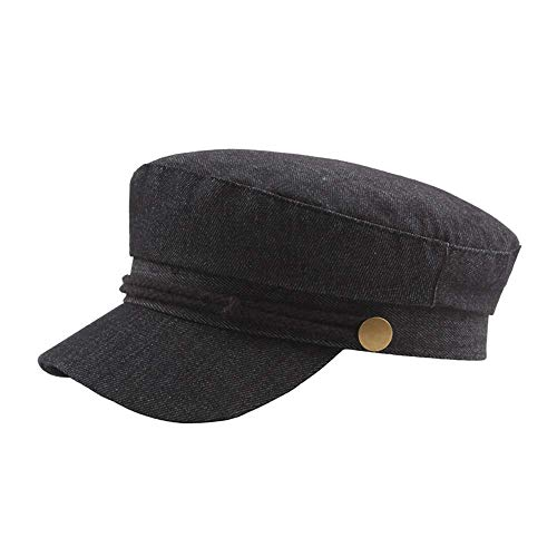 Aaedrag Versión Coreana del Sombrero de Mezclilla de otoño e Invierno, Sombrero de Mujer Azul Marino Casual periódico Sombrero británico Hebilla de Cobre Retro Boina de Sombrero Plano