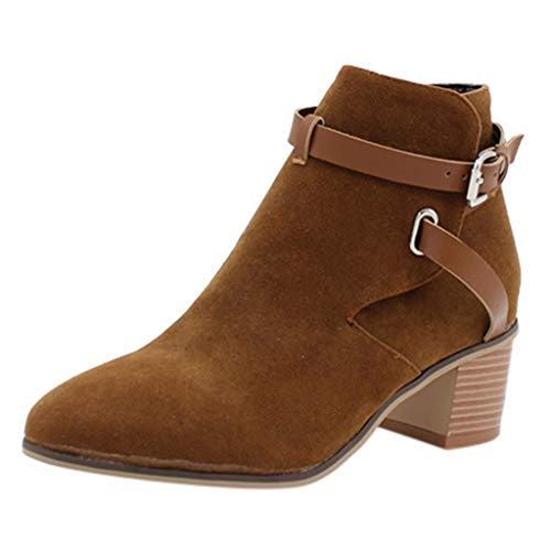 Find Bargain Kiminana Pointed Suede Buckle High Heel Square with Solid Color Booties Office Pumps wi...