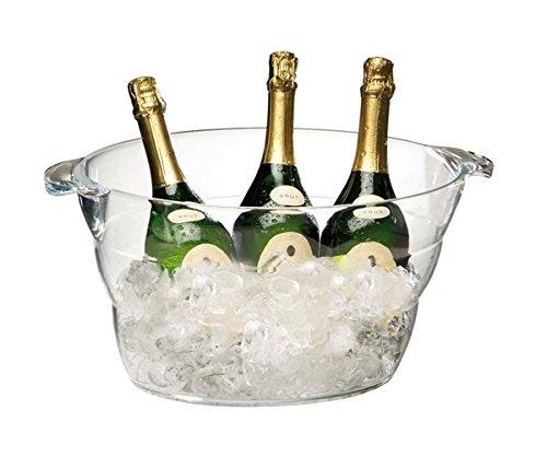 Wein-/ Sektkühler aus Acryl mit glasklarer Schale, für bis zu 6 Flaschen geeignet, stapelbar / 47 x 28 x 23 cm, Inhalt: 10 ltr.   SUN