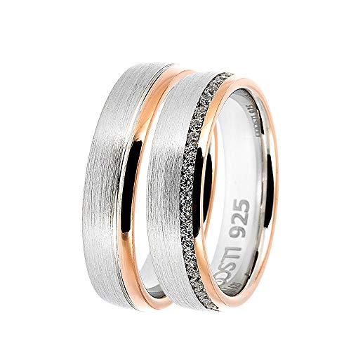 DOOSTI Partnerringe/Trauringe BICOLOR 925/- Silber – inkl. Gratis Gravur