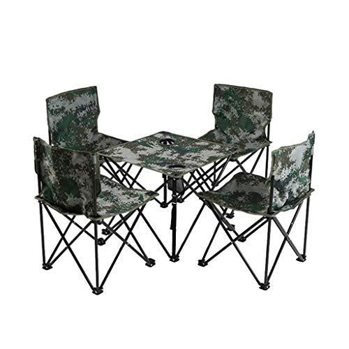Qiuoorsqurp Tragbarer Tisch und Stuhl, Outdoor Klappstuhl Tisch Angeln Grill Tisch und Stuhl, Campingtisch und Stuhl können gespeichert werden, einfach zu tragen, stabiler Stahlrahmen ist stabiler, ge