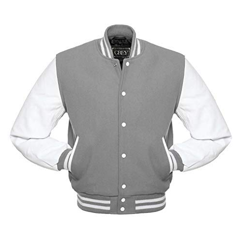 Varsity Jacket - Chaqueta de béisbol para hombre, cuerpo de lana y mangas de cuero auténtico (gris/blanco, 6XL)