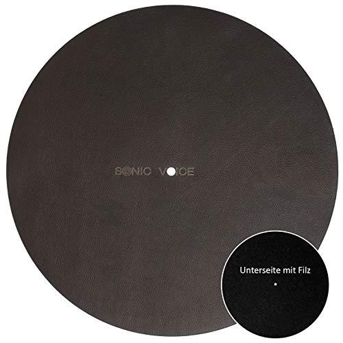 Sonicvoice Plattenteller Auflage aus anilin gefärbtem braunem Echtleder mit Filz kombiniert für ein perfektes Klangerlebnis