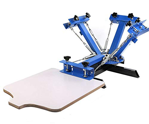 SHZOND Screen Printing Press 4 Color 1 Station Silk Screen Printing Machine 21.7' x 17.7' Removable Pallet Screen Printing Machine Press for T-Shirt DIY Printing