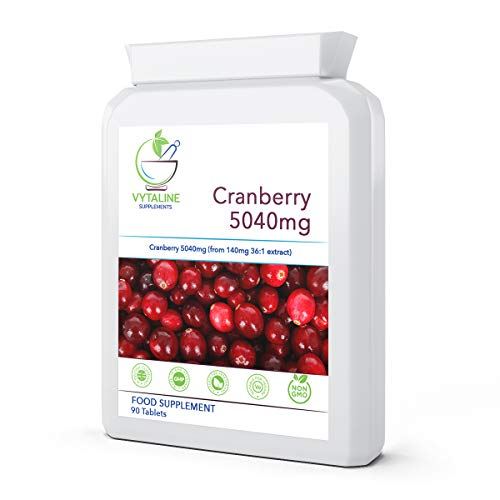 Cranberry Tablets for Urinary Infections-90 x 5040mg (3 Months Supply)-High Strength Extract for UTI Pain Relief - Healthy Bladder and Kidney Cleanse-Cystitis Supplement Remedy for Women Made in UK