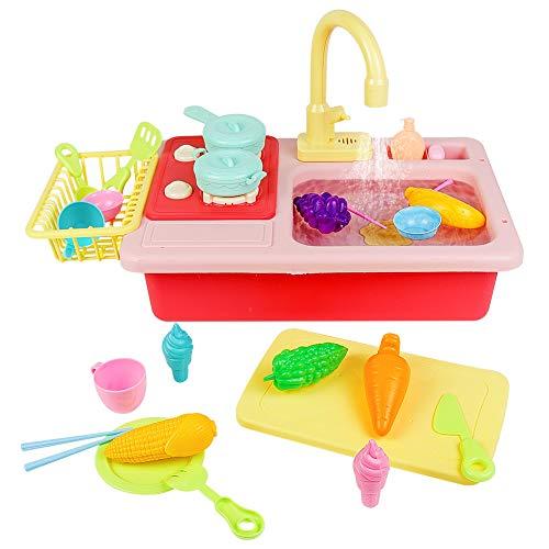 Waschbecken Spielzeug Spielküche Kinderwaschbecken Küchenspielzeug für Kinder Geschirr Kinderküche Zubehoer Kinderspielzeug Rollenspiel Geburtstagsgeschenk Lernspielzeug ab 3 4 5 Jahren Mädchen Junge