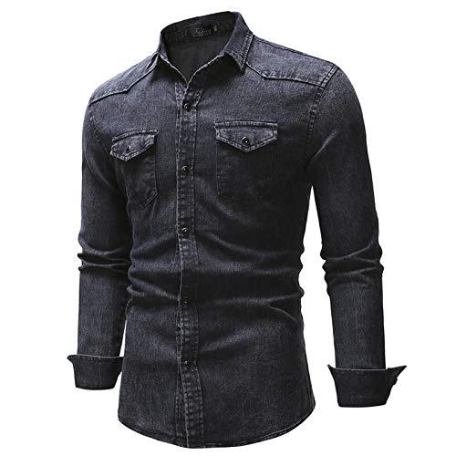 Hemd Herrenhemden Neues Außenhandels-Jeanshemd Mit Blattdruck-Taschendekoration Für Herren-Langarmhemd XXXL Darkgray