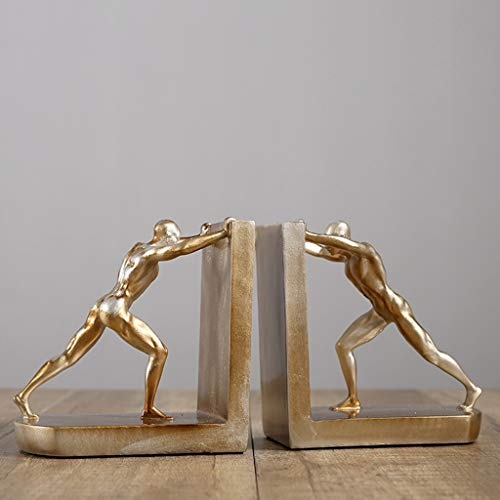 KKCD -Skulpturen Buchstütze Unterstützung goldenen Harz modernen Charakter Buchstütze Büro Studie Schreibtisch Wohnzimmer Weinschrank Dekoration (Color : Gold)