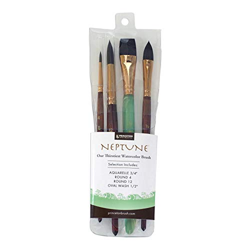 Princeton Artist Brush, Neptune Synthetic Squirrel Paint Brushes, 4750 4-Piece Set 300