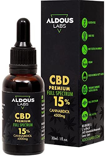 Auténtico CBD Oil 15% | Full Spectrum | Aceite de Cáñamo Bio enriquecido con 15% CBD | 30ml - 1200 gotas Aceite CBD Premium | Hemp Oil con 4500mg de Cannabidiol | Espectro Completo