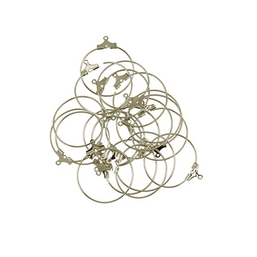 oshhni 20 Piezas de Joyería de Perforación, Pendientes de Aro de Aleación, Anillo de Aro, Hallazgos de Bricolaje - Plata, Individual