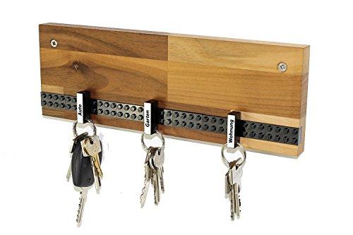 Schlüsselbrett Play 202 Holz | Für die ganze Familie | Schlüsselleiste Nussbaum mit 6 Schlüsselanhängern zum selbst beschriften | inkl. Schrauben und Dübel | schwarz