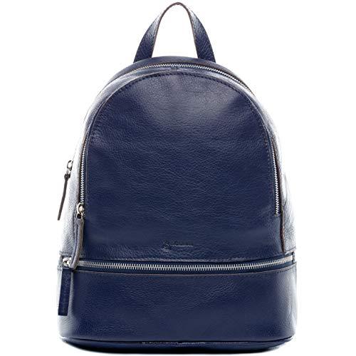 BACCINI® Zaino vera pelle DINA grande borsa a spalla borsa a zainetto backpack donna cuoio blu