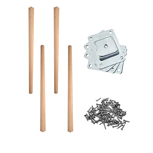 CLIPOP 27 inches / 69 cm Wooden Furniture Legs Set of 4 DIY Wood Furniture Replacement Feet with Mounting Plate & Screws Furniture Legs for TV Stand, Dining Table, Desk, Cabinet