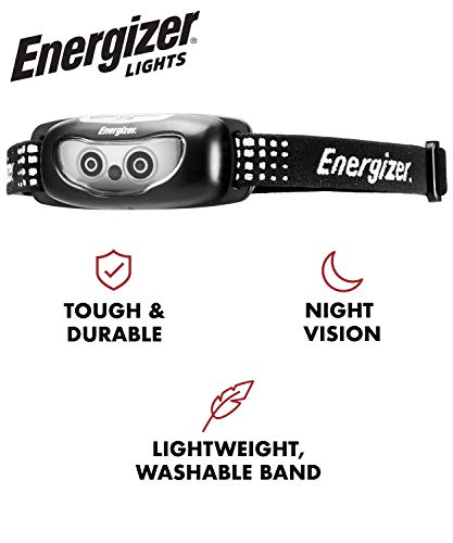Energizer LED Headlamp Flashlight, High Lumens, For Camping Accessories, Emergency Light, Survival Kit, Best Head Lamp For Adults and Kids, Batteries Included