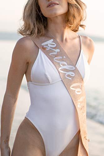 xo, Fetti Rose Gold Glitter Bachelorette Party Sash - Bride To Be   Bachelorette Party Decorations, Bridal Shower, Bride Gift