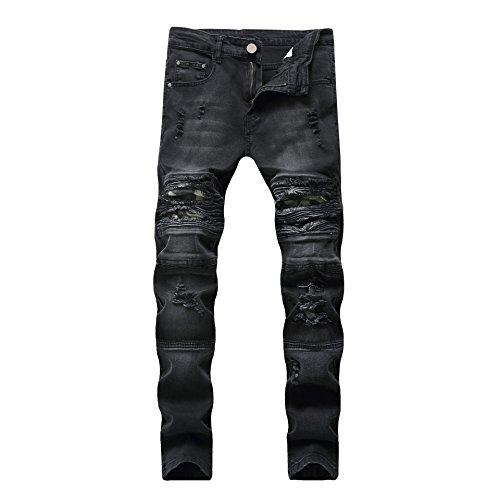 JOSONEY Men's Black Skinny Ripped Distressed Slim Fit Destroyed Stretch Moto Biker Jeans 32x31