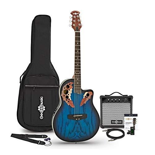 Guitarra Deluxe Con Dorso Redondeado + Pack de Ampli de 15W - Azul